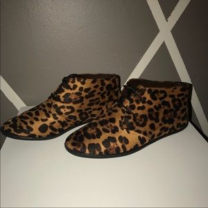 312da7fadef Leopard animal print lace up booties flat shoes.  30  49. Size  9 ·  Misbehave